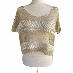 LULUMARI Fishnet Cropped Shirt/Cover Up S/M